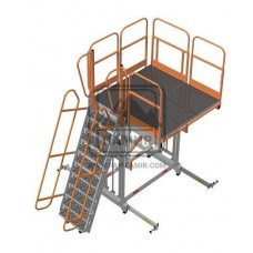 Cтремянка передвижная алюминиевая СПА - 1,6/2,4 А (1,8 х 1,9/2,8)  для обслуживания воздушных судов